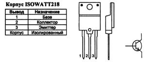 Корпус транзистора BUH515 и его обозначение на схеме