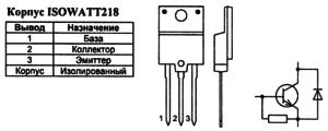Корпус транзистора BUH515D и его обозначение на схеме