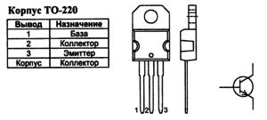 Корпус транзистора BUL216 и его обозначение на схеме
