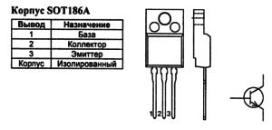 Корпус транзистора BUT11APX-1200 и его обозначение на схеме