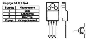 Корпус транзистора BUT18AF и его обозначение на схеме