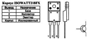 Корпус транзистора MD2310FX и его обозначение на схеме