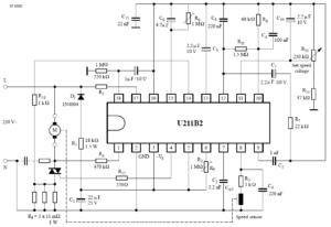 Принципиальная схема включения с возможностями управления скоростью, автоматическим повторным включением, отключением нагрузки, плавным пуском, контролем тахометра