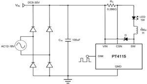 Рисунок 1 – Схема подключения светодиода мощностью 1 Вт