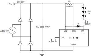 Рисунок 2 – Схема подключения 3-х светодиодов мощностью 1 Вт
