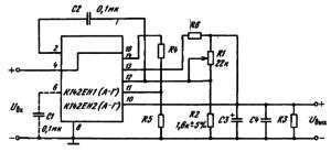 Основные схемы включения К142ЕН1(А — Г), К142ЕН2(А — Г) с внутренней защитой от коротких замыканий: R4 = 0,7 В / 0,35 м А « 2 кО м ; R5 = ( t/вых + 0,5 В) / 0,3 мА, кОм (делитель базы транзистора защиты); R6 = 0,5 В / /пор, Ом (резистор защиты); /пор — значение /Вых при включении транзистора защиты (при / вых//вых тах«2,2)