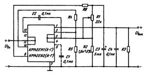 Основные схемы включения КР142ЕН1(А — Г), КР142ЕН2(А — Г) внутренней защитой от коротких замыканий: