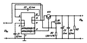 Схемы включения КР142ЕН1 (А — Г), КР142ЕН2(А — Г) с внешним транзистором для увеличения выходного тока
