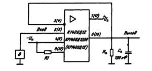 Типовая схема включения ИМС К140УД12, КР140УД12, КР140УД1208