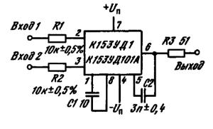 Схема компаратора напряжения на ИМС К153УД1, К153УД101А
