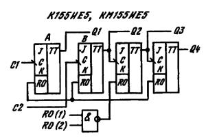 Функциональная схема ИМС К155ИЕ5, КМ155ИЕ5