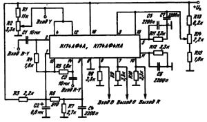 Схема включения ИМС К174АФ4А, К174АФ4МА в качестве матрицы R — G — В