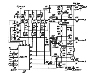Схема включения ИМС К174АФ5 в качестве формирователя сигналов цветности