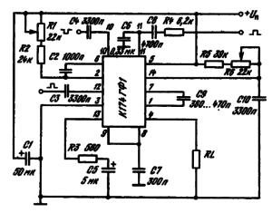 Типовая схема включения ИМС К174ГФ1 в качестве задающего генератора строчной развертки