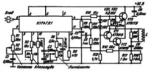 Схема включения ИМС К174ГЛ1 в качестве генератора кадровой развертки