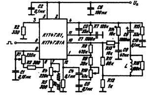 Схема включения ИМС К174ГЛ1, К174ГЛ1А для видеомонитора. Сопротивление резистора R7 определяется типом кинескопа и влияет на линейность по вертикали
