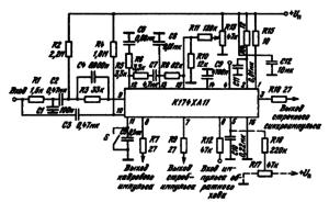 Типовая схема включения ИМС К174ХА11 в качестве узла управления строчной и кадровой развертками телевизоров