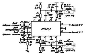 Типовая схема включения ИМС К174ХА8 в качестве электронного ком мутатора-демодулятора цветовых сигналов