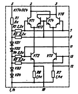 Принципиальная электрическая схема ИМС К174ПС4
