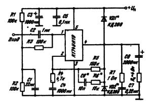 Типовая схема включения ИМС К174УН19 в качестве усилителя мощности с однополярным источником питания при однополярном источнике питания