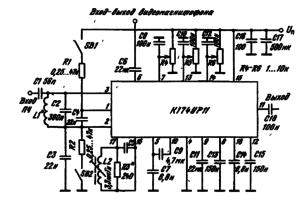 Типовая схема включения ИМС К174УР11 в качестве УПР каналов звука с электронной регулировкой тембра: L2 — 3,3 мкГн, сердечник МР-2СБ-126