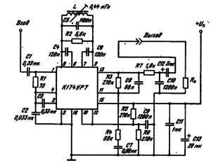 Типовая схема включения ИМС К174УР7 в качестве тракта ПЧ — ЧМ