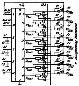 Схема включения ИМС К174КН2 в блоке управления с кнопочным и дистанционным управлением с кольцевым счетом: