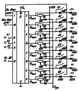 Схема включения ИМС K174KH2 в блоке ___ управления с кнопочным и УД/7 дистанционным управлением ^ с произвольным доступом: