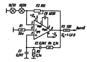 Принципиальная схема низковольтного звукового генератора-пробника на микросхеме К1407УД2 (/= 1 кГц)
