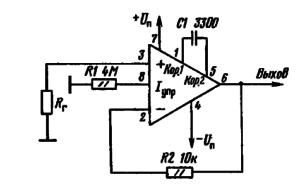 Схема включения микросхем К1407УД2 и КР1407УД2 в режиме повторителя напряжения