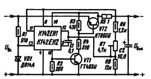 Принципиальная схема стабилизатора напряжения отрицательной полярности. Напряжение стабилизации стабилитрона VD1 выбирается: для К142ЕН1 от 7 до 17 В; для К142Ен2 от 7 до 37 В. Ток, протекающий через резисторы R6, R7, R8, должен быть не менее 1,5 мА. Среднее значение нестабильности по напряжению стабилизатора 0,015 % по току 0,025 %