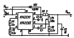 Схема включения К142ЕН1 и К142ЕН2 в состав стабилизатора напряжения с источником опорного напряжения, питающегося от внешнего стабилизированного источника напряжения