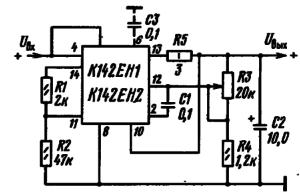 Схема включения К142Ен1 и К142ЕН2 с использованием внутренней схемы защиты от коротких замыканий в цепи нагрузки (R1, R2 - делитель в цепи базы транзистора защиты; R5 - резистор-датчик схемы защиты; R1 = 2 кОм, R2 = (Uвых + 0,5 В)/0,3 мА, кОм; R5 = 0,5 В/Iпор, А, Ом).