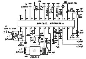 Типовая схема включения ИМС К174ХА28, КБ174ХА28-4 в качестве декодера сигналов цветности системы PAL: ZQ1 — кварцевый резонатор РК 172 — 7В1 (ОДО. 338. 029ТУ)
