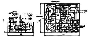 Печатная плата и расположение на ней деталей приемника для радиоуправления моделями