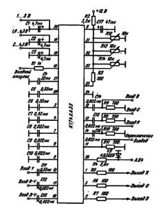 Типовая схема включения ИМС К174ХАЗЗ в качестве декодера цветовых сигналов телевизоров