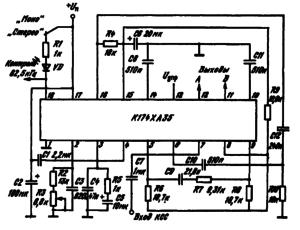 Типовая схема включения ИМС К174ХА35 в качестве стереодекодера систем с полярной модуляцией