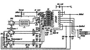 Схема включения К174КП1 в составе усилительно-коммутационного устройства