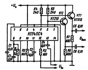 Типовая схема включения микросхемы К174ПС4 в качестве широкополосного усилителя.