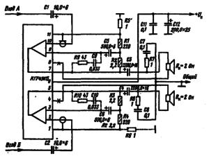 Типовая схема включения микросхемы К174УН15