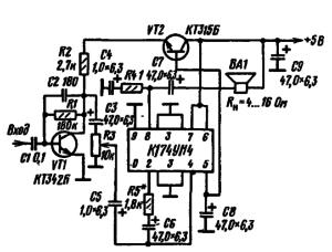 Принципиальная схема экономичного усилителя на микросхеме К174УН4 (20)
