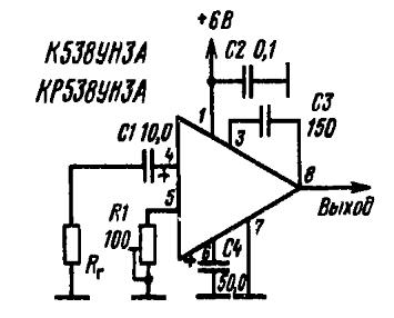 Кр538ун3 в схемах усилителей