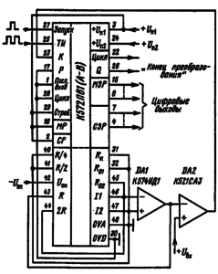 Типовая схема включения микросхемы К572ПВ1 (А-В) в режиме АЦП с операционным усилителем и компаратором напряжения