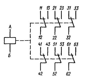Принципиальная электрическая схема из шести контактных элементов