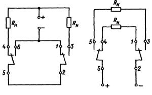 Электрическая схема нагрузки контактов реле РЭС47