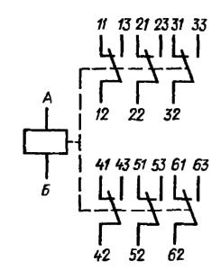 Принципиальная электрическая схема реле РКМП на шесть переключений