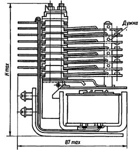 Конструктивные данные открытого реле МКУ48-С с толкателем контактных пружин типа «дужка»