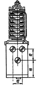 Конструктивные данные открытого реле МКУ48-С с толкателем контактных пружин типа «колодочка»
