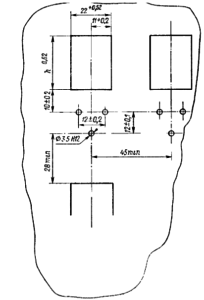 Разметка для крепления реле с толкателем типа «колодочка»