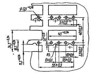 Разметка для крепления реле РКМ1 с возвратной пружиной